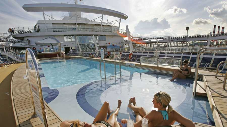 One of the pools on board the world's largest and newest cruise ship, Oasis of the Seas, is seen at Port Everglades in Ft. Lauderdale, Fla. Friday, Nov. 20, 2009.