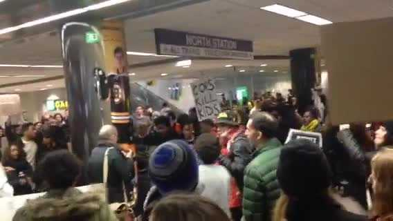 A Black Lives Matter protest took place at North Station Saturday.