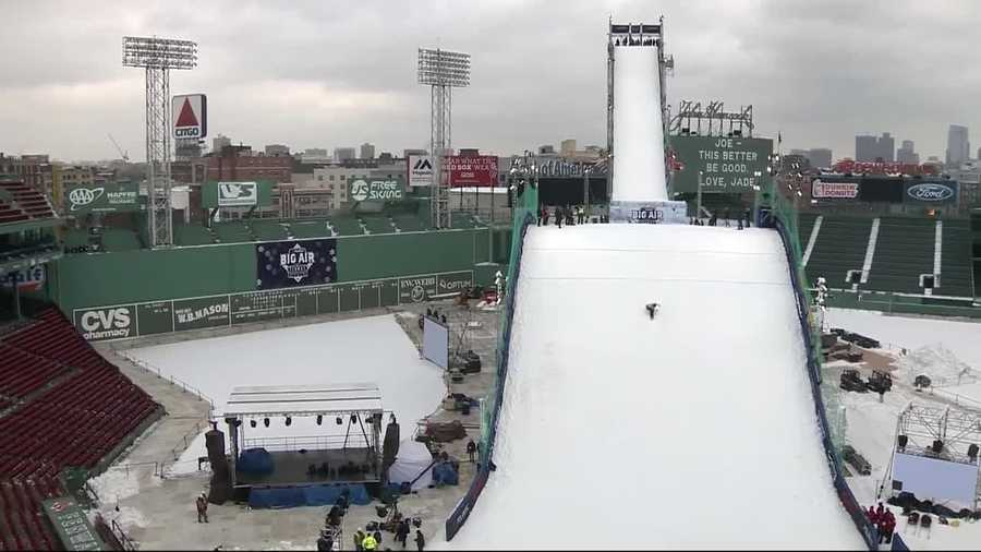 Fenway Park has turned into a ski resort with a ramp 14 stories high taking over the ballpark for the Polartec Big Air.