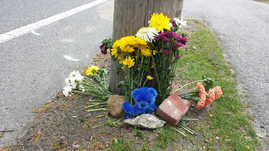A Teddy bear and flowers were left at the scene Sunday of fatal motorcycle crash near 202 West Plain St. in Wayland.