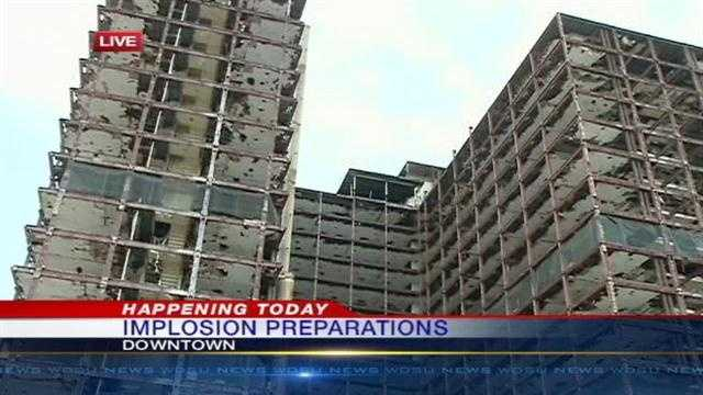 Workers say the implosion of the old Palace Hotel will happen later this month.