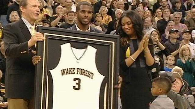 Lewisville native and NBA star Chris Paul is honored by Wake Forest University by having his No. 3 jersey retired during a ceremony at LJVM Coliseum.