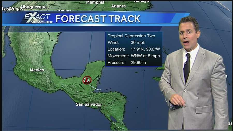 Tropical Depression No. 2 moving on land and impacting parts of Belize and the Yucatan Peninsula Tuesday morning.