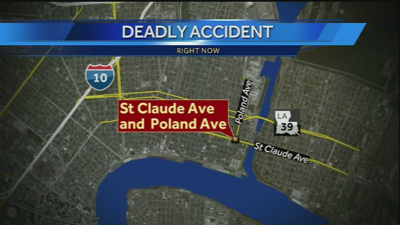 A man was killed in a car crash in the Bywater neighborhood early Monday morning.