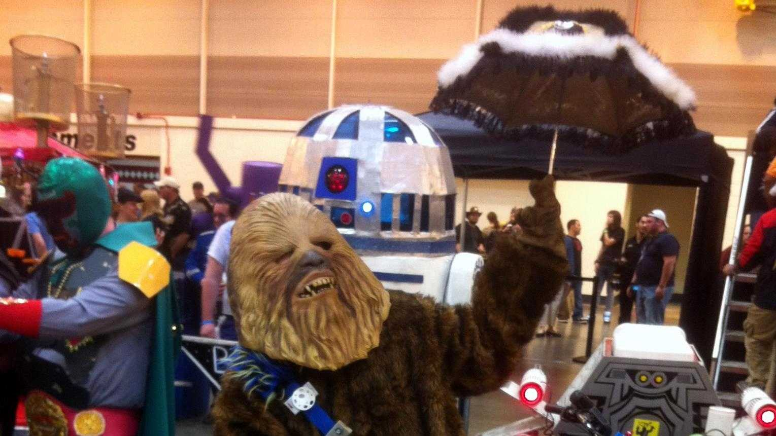 "The Krewe of Chewbacchus attended the 2012 New Orleans Wizard World Comic Con. Pictured is the ""Sacred Drunken Wookie."""