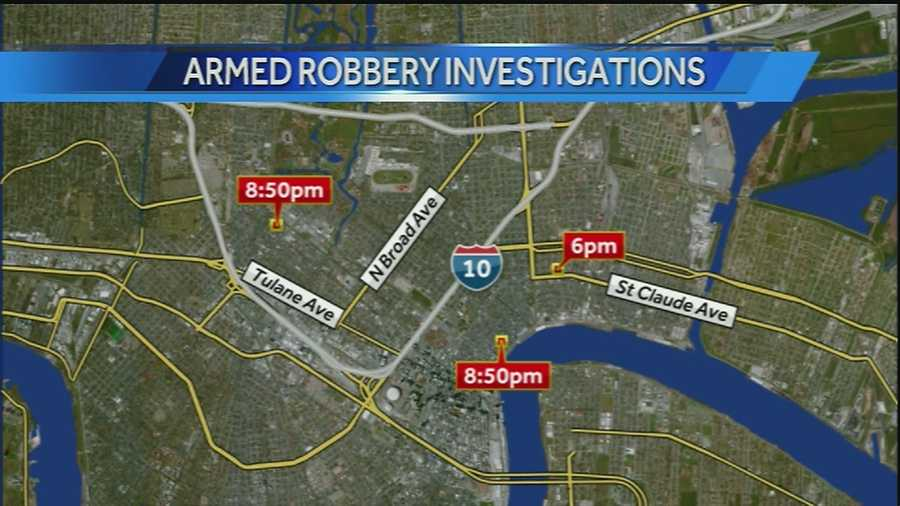 New Orleans police are investigating a string of armed robberies that spanned from the St. Roch neighborhood to the French Quarter on Wednesday night.