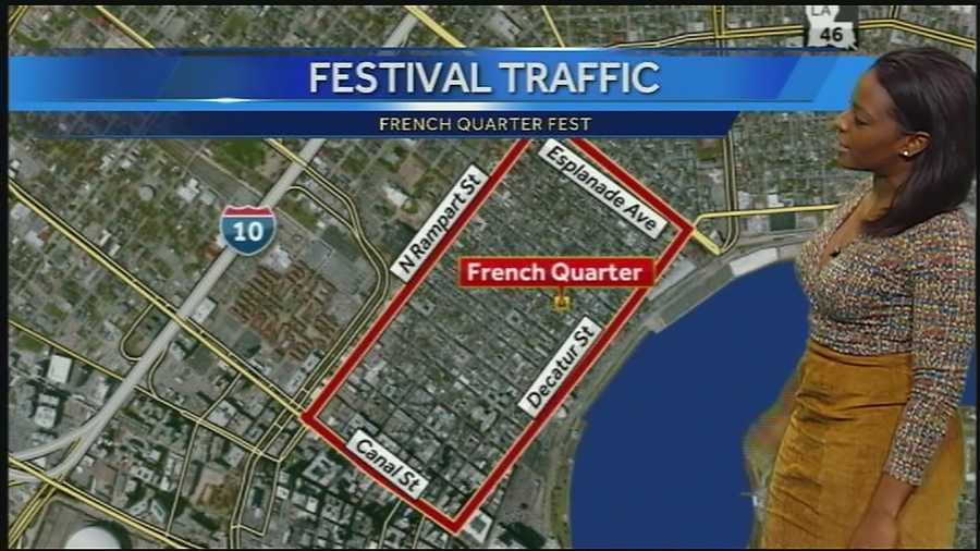There will be restricted parking around the French Quarter due to the festival. A shuttle service will be available over the weekend in the Central Business District but the Gretna ferry will not be running.