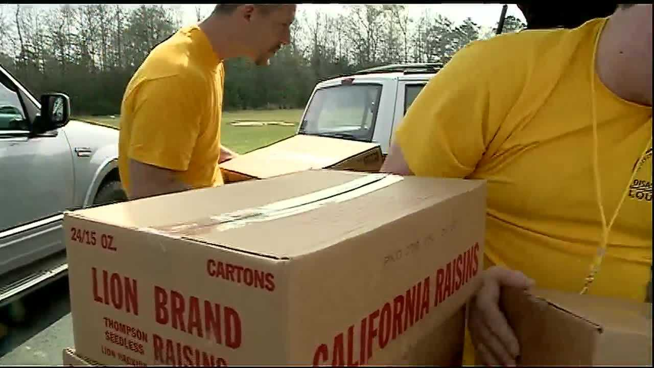 Second Harvest Food Bank went up to Washington Parish Tuesday to help flood victims who will now have to rebuild their lives.
