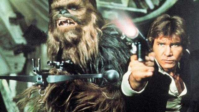 "Peter Mayhew and Harrison Ford in ""Star Wars"""