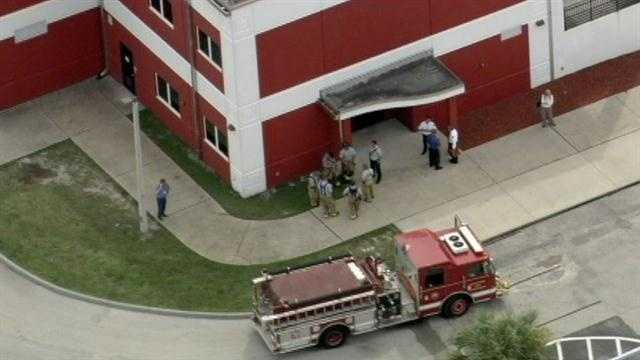 Faculty and staff of Palm Bay High School have been evacuated because of a fire.