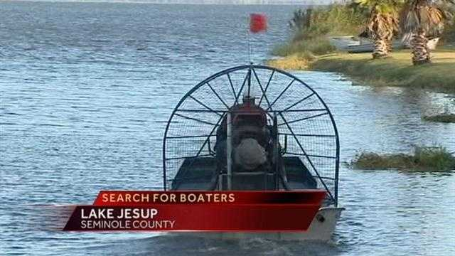 Crews have suspended the search for 2 missing boaters until tomorrow morning.