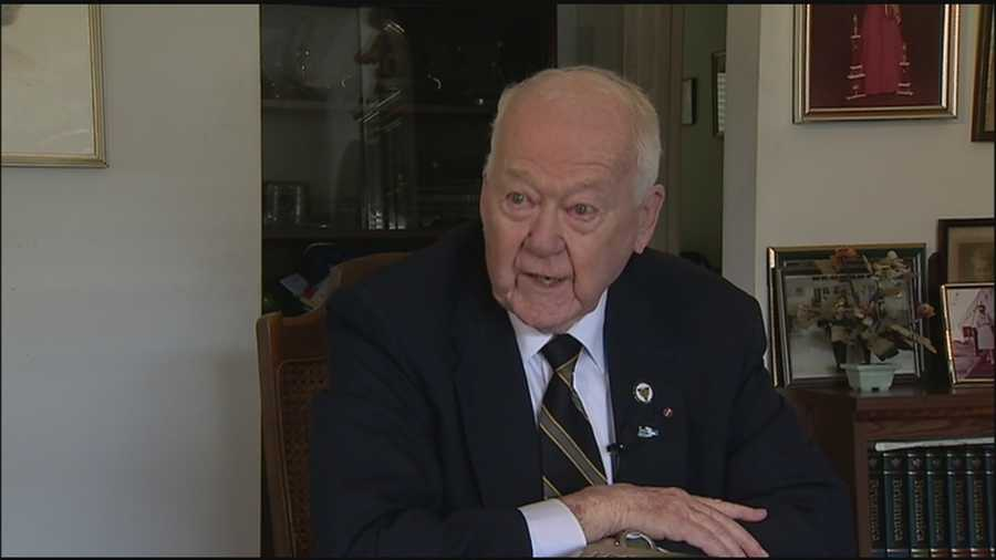 "A Winter Park man speaks about fighting on the beaches of Normandy, which he wrote about in his book ""Intact."""