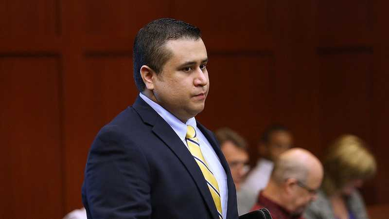 George Zimmerman arrives for the 20th day of his trial in Seminole circuit court, in Sanford, Fla., Monday, July 8, 2013. Zimmerman is charged with 2nd-degree murder in the fatal shooting of Trayvon Martin, an unarmed teen, in 2012. (Joe Burbank/Orlando Sentinel/POOL)