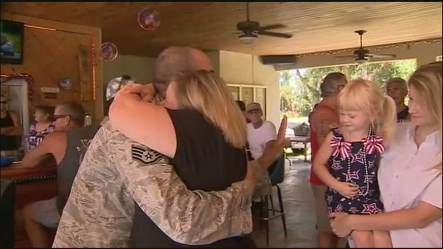A veteran of the wars in Iraq and Afghanistan got a hero's welcome when he returned home to Titusville.