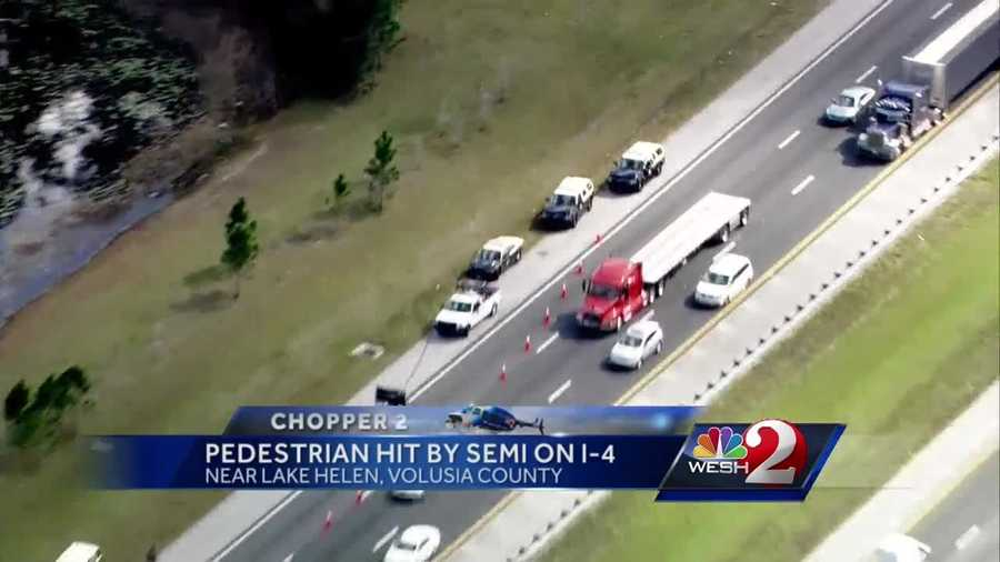 A motorcyclist is in critical condition after he was hit by semi-truck on Interstate 4 in Volusia County Monday afternoon.