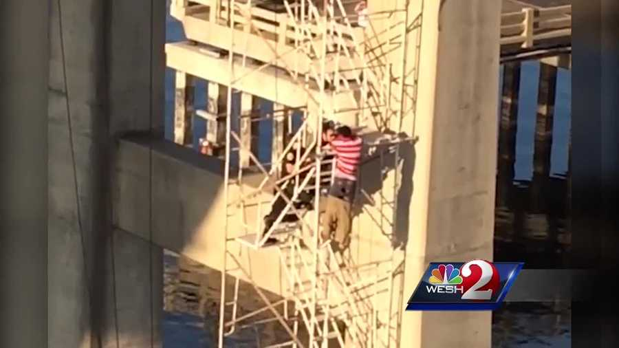 A man was rescued from a bridge over the Indian River Lagood in Cocoa, after he threatened to jump. Dan Billow (@DanBillowWESH) has the story.