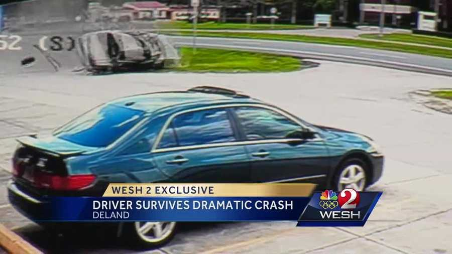 A man was rushed to a hospital by helicopter Saturday after a frightening crash sent his car tumbling beside busy Woodland Boulevard in DeLand.