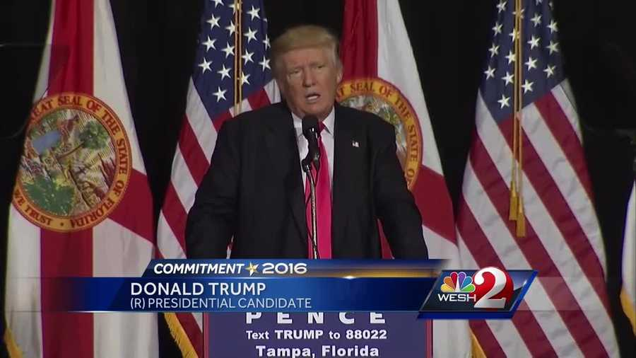 After a colorful introduction by former New York Mayor Rudy Guiliani, Donald Trump spoke to voters in Tampa on Wednesday. Greg Fox reports.