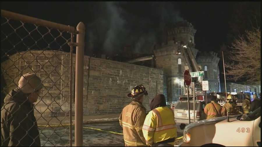 Prisoners and staff were forced to evacuate an old Pennsylvania prison as it went up in flames.