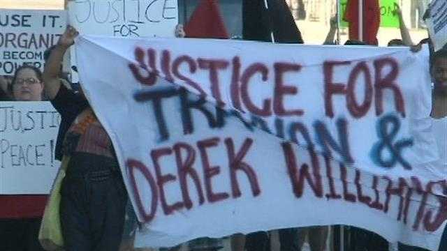 Protesters gathered Sunday in Milwaukee to rally against the verdict in the George Zimmerman trial.