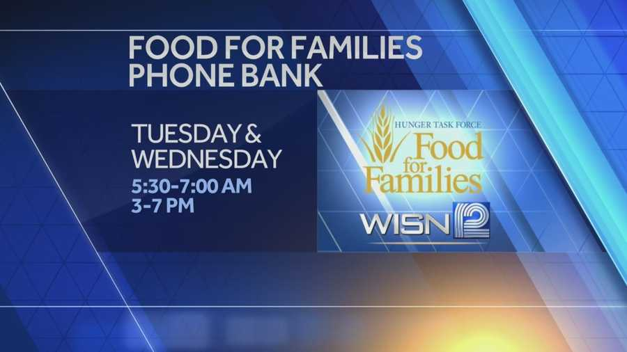 Two days of giving... you can help ensure area families in need have a happy and healthy holiday season by donating to the WISN 12 and Hunger Task Force's Food For Families phone bank on Tuesday and Wednesday during WISN 12 News This Morning.