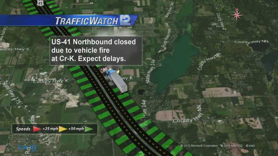 A semi tractor trailer fire has closed the northbound lanes of Hwy 41 north of Slinger.