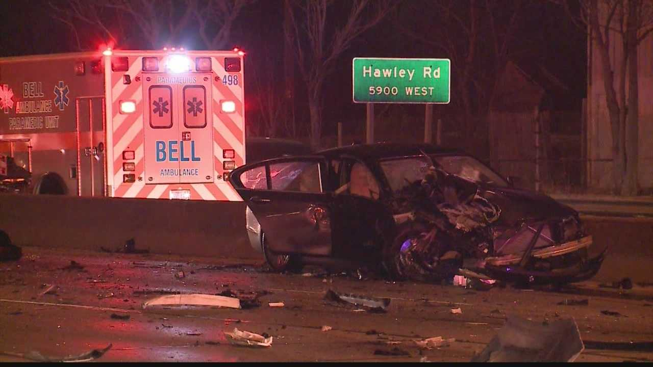A fatal wrong-way crash on Interstate 94 eastbound at Hawley Road causes a huge backup.