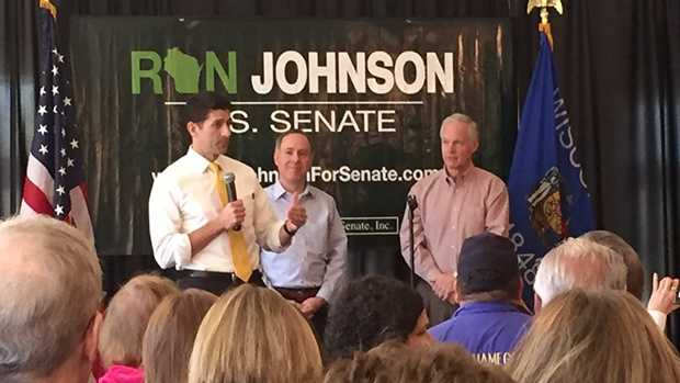 Speaker Paul Ryan endorses Sen. Ron Johnson for re-election at an event in Burlington, Wisconsin on Thursday, May 5, 2016.