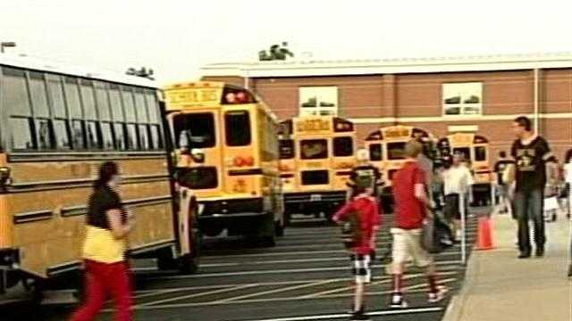 It is a big day in Henryville as students displaced by the March 2 tornadoes finally return to class at their new school.