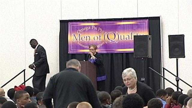 "Seven hundred students packed the University of Louisville Student Activities Center for the ""Men of Quality Forum."""