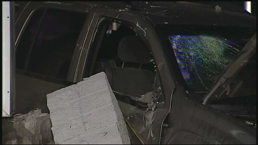 A van slammed into a concrete gas station sign at Fern Valley Road and Preston Highway early Friday morning.