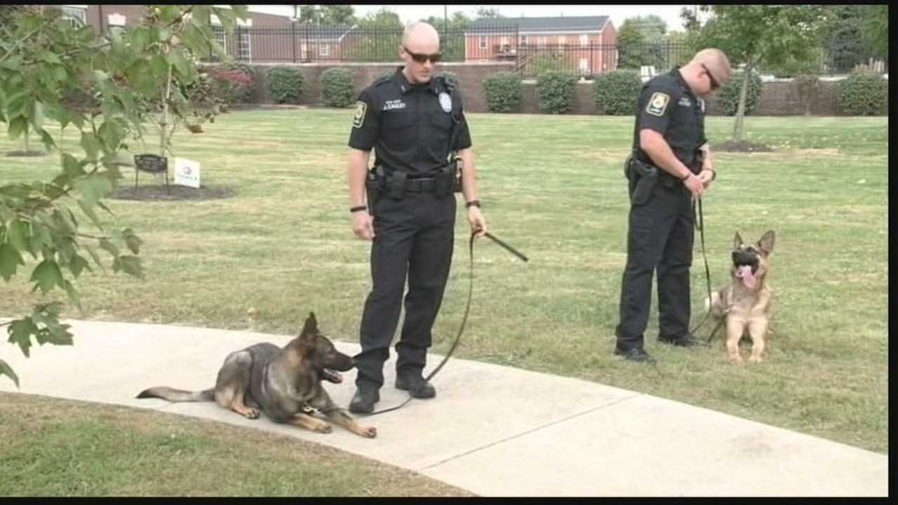 The Bardstown Police Department introduces two K-9's and their officers in honor of fallen Officer Jason Ellis.
