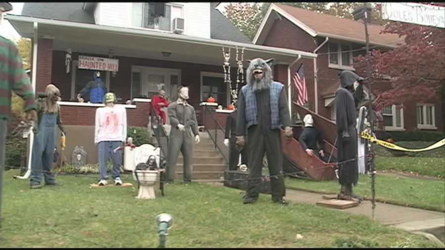 Residents along Hillcrest Avenue are ready to celebrate Halloween, rain or shine.