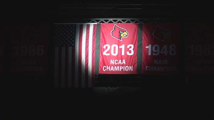 The University of Louisville NCAA Championship banner was unveiled at the KFC Yum! Center before Saturday's game against College of Charleston.