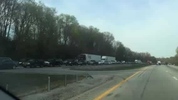A crash on Interstate 71 is causing traffic to move very slowly.