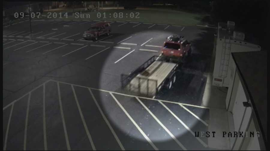 Surveillance video shows two people stealing a trailer from Kosair Charities.