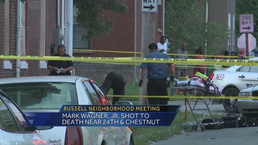 A meeting was held in the Russell neighborhood after Mark Wagner Jr. was shot to death near 24th and Chestnut streets.