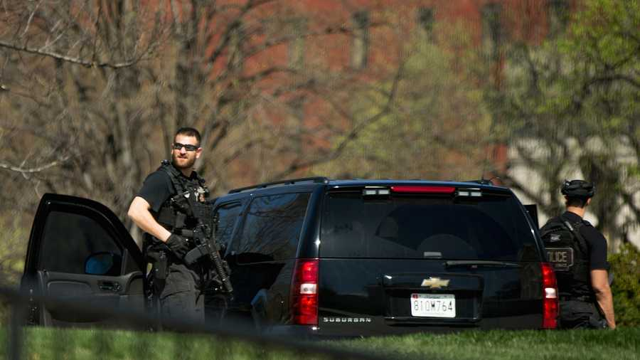 "Members of the uniformed Secret Service stand at ""heightened awareness"" on North Lawn of the White House in Washington, March 28, 2016, after a U.S. Capitol Police officer was shot at Capitol Visitor Center complex. The shooter was taken into custody."