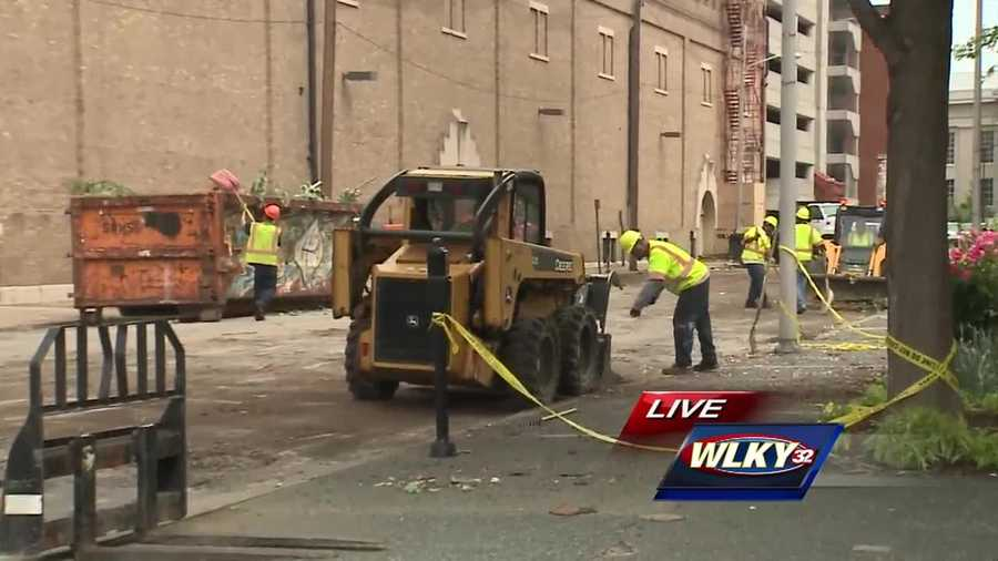 Crews are cleaning up after a storm caused damage downtown.