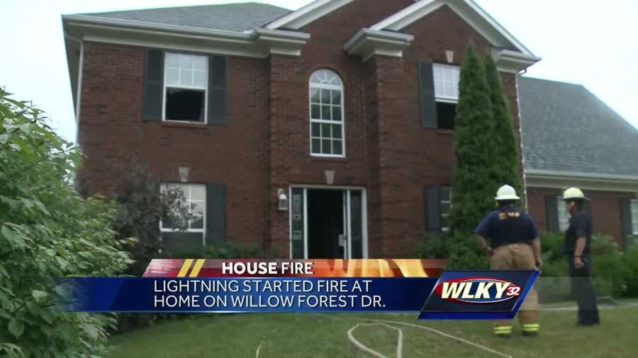 Lightning started a fire Wednesday at a home on Willow Forest Drive.