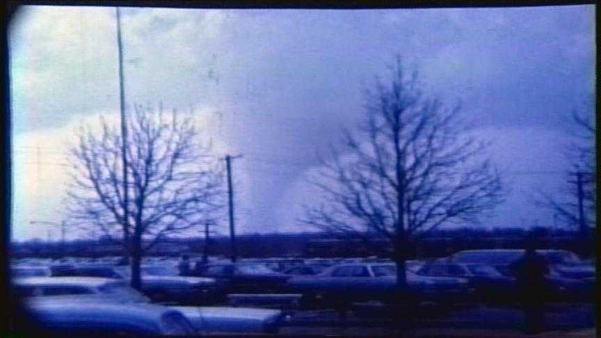 Images from Bill Dirksing's 8mm film of the Sayler Park tornado, shot from CVG.