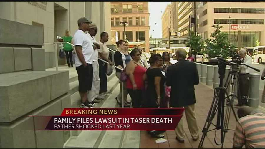 The family of a man who died last year after being shocked with a Taser is suing a police officer and his department.