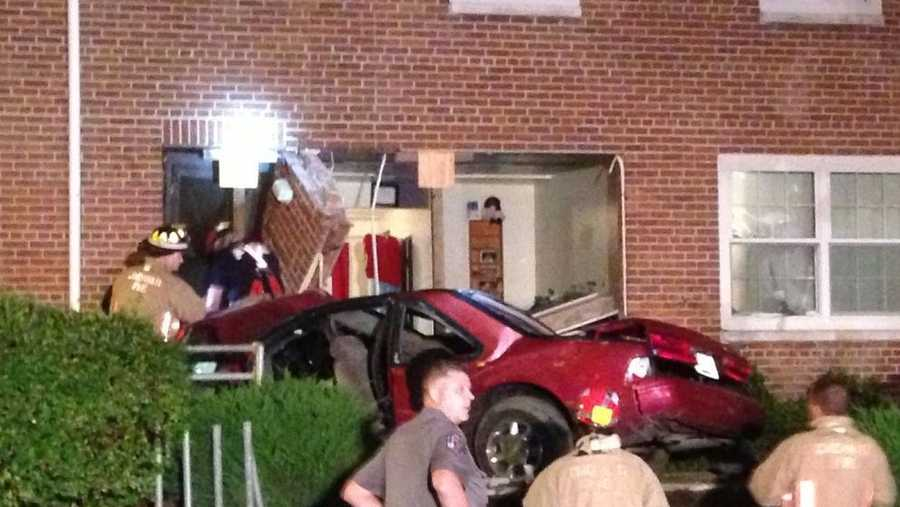 A woman lost control of her vehicle and crashed into a townhouse in Cincinnati late Wednesday night, police said.