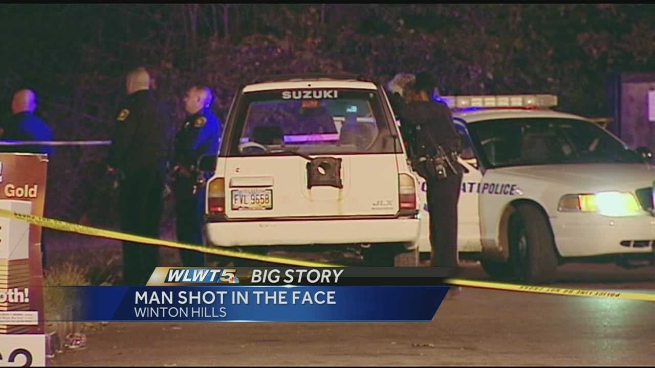 Cincinnati police said a man was stopped at a stop sign at the intersection of Winneste Avenue and Kings Run Drive about 8 p.m. Friday when someone approached the driver's side window and shot him.