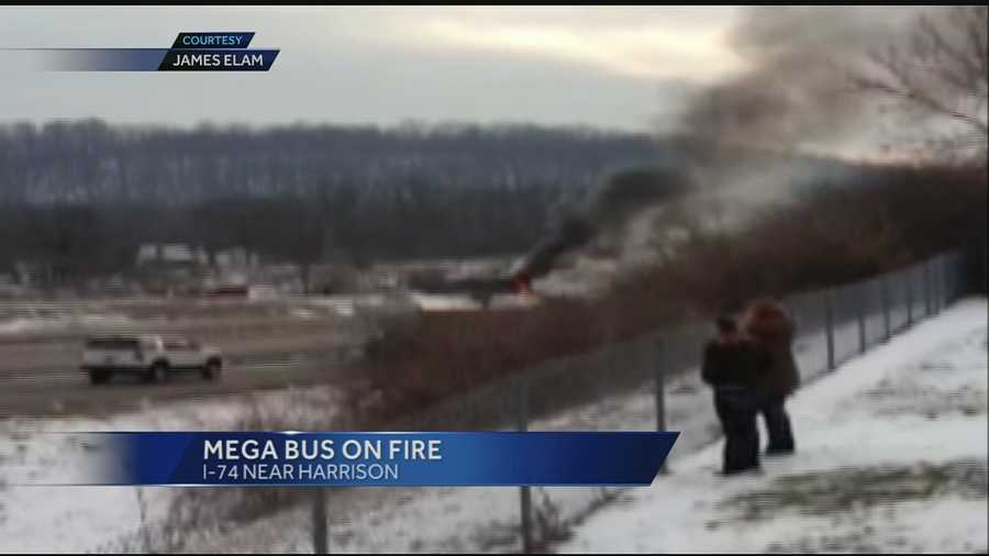 The bus was traveling from Cincinnati to Chicago and was on westbound I-74 near Dry Fork Road when it happened. Passengers say the first sign of trouble was the sound of an explosion.