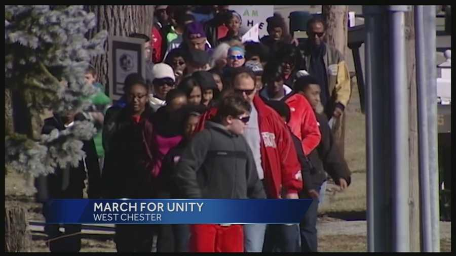 Two Butler County communities came together Monday to honor Dr. Martin Luther King Jr. About 150 people marched down Cincinnati-Dayton Road.