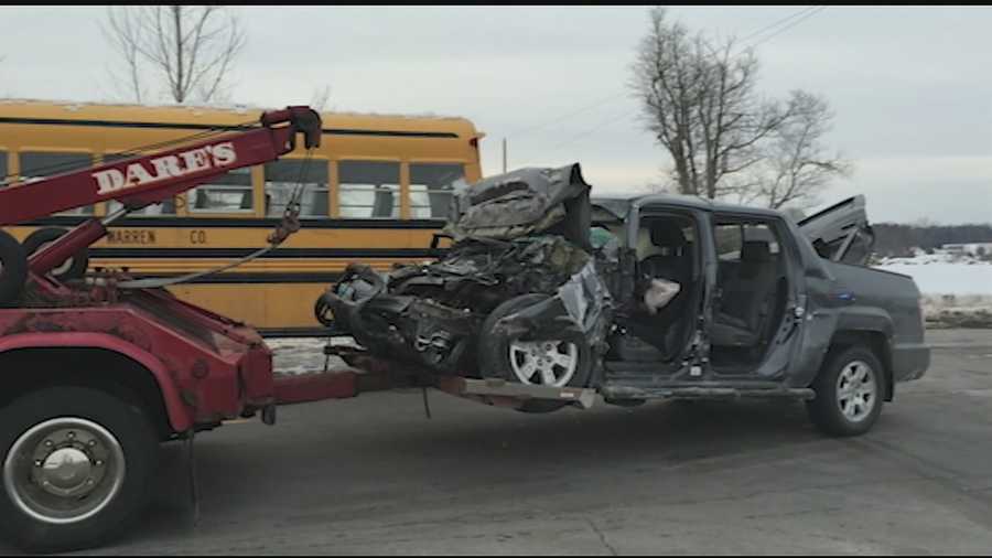 Investigators said the preliminary investigation revealed that both vehicles were westbound on State Route 22. The school bus was stopped at the intersection of Middleboro Road, waiting to turn left when the pick up truck failed to stop and struck the rear of the school bus.
