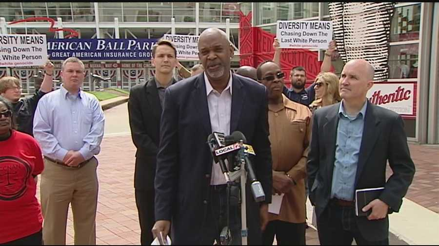 A public call for Major League Baseball to discuss a variety of racial concerns turned into its own racially-tinged confrontation outside Great American Ball Park Wednesday.