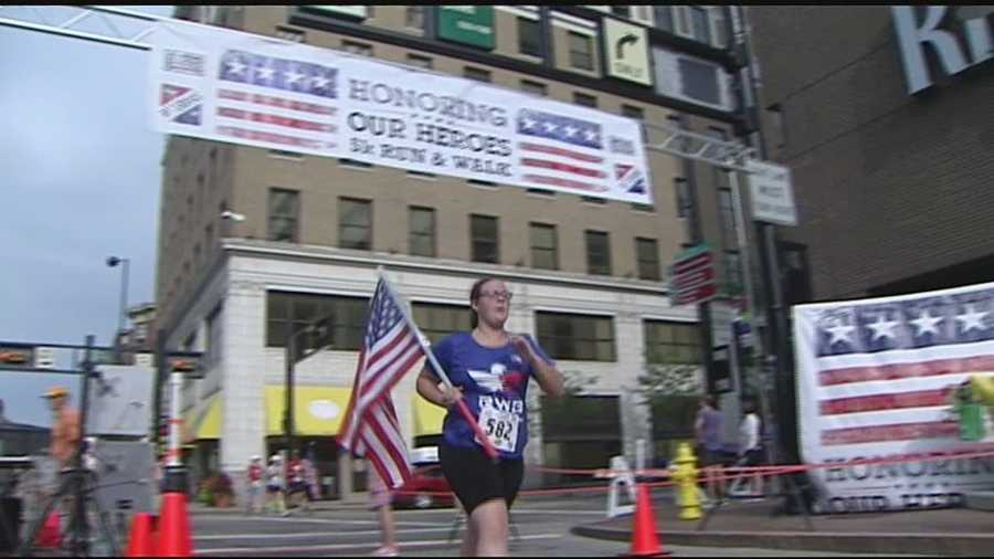 More than 300 runners and walkers made their way through the streets of downtown Cincinnati to honor heroes and celebrate men and women in uniform. The 5K was the second annual run hosted by The Kroger Company to recognize military veterans in our communities.