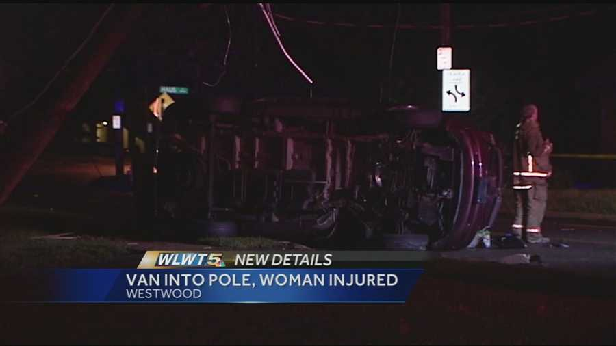 A woman is in serious condition after police say she lost control, flipped her car and hit a pole.